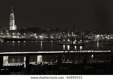 portrait of the city of antwerp by night