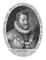Portrait of the Emperor Rudolf II, 1603, vintage engraving.