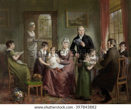 Portrait of the Family of Adriaan Bonebakker with Dirk L. Bennewitz, by Adriaan de Lelie, 1809, Dutch painting, oil on canvas. The men were Amsterdam prominent silversmiths, with Bennewitz seated and