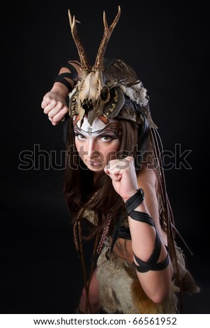 stock photo Portrait of the female viking Awesome body art studio work