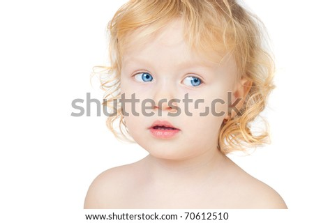Portrait of the girl of two years largely, white background