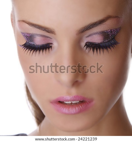 portrait of the girl with beautiful makeup and closed eye