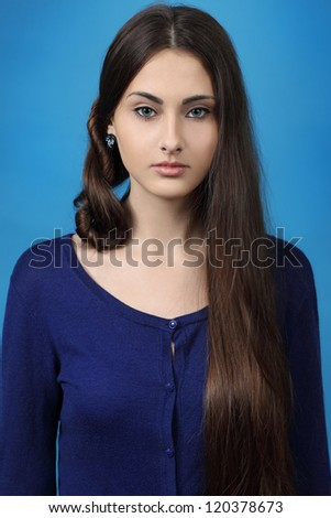 portrait of the girl with long beautiful hair