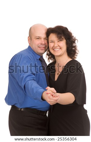 portrait of the happy couple on a white background