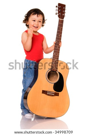 Portrait of the little guitarist on a white background.