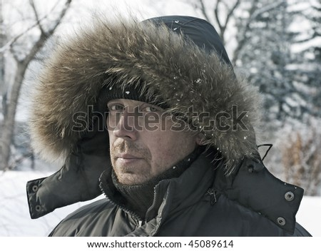 stock photo : Portrait of the mature man against the winter nature