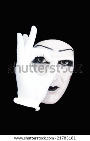 Portrait of the mime in white gloves  MORE  IMAGES FROM THIS SERIES IN MY PORTFOLIO - stock photo