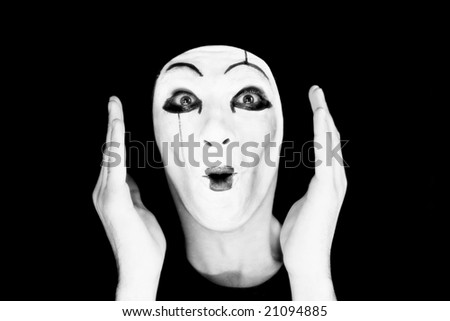 Portrait of the mime on a black background\\ MORE  IMAGES FROM THIS SERIES IN MY PORTFOLIO