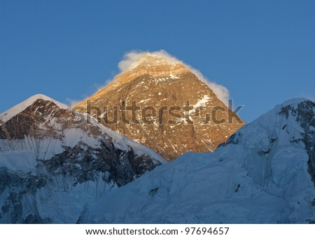 Portrait of the Mount Everest (the highest peak in the world 8848m) at sunset - Nepal, Himalayas