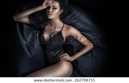 Portrait of the slim woman wearing sexy lingerie