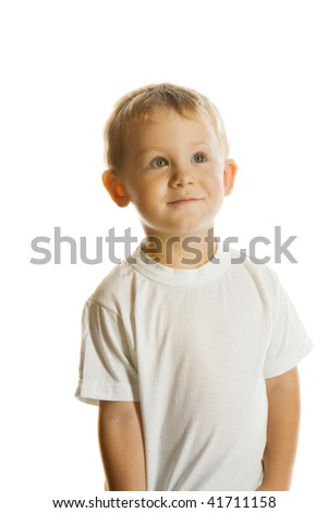 Portrait of the two-year blue-eyed boy in a white T-shirt, isolated on white - stock photo