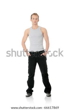 Portrait of the young handsome man isolated on a white background #66617869