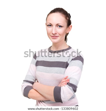 portrait of the young woman in sweater, isolated on white