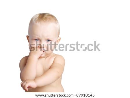 Portrait of thinking baby boy, isolated on white