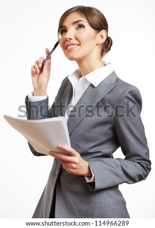 Portrait of thinking business woman with pen and paper, isolated on white background