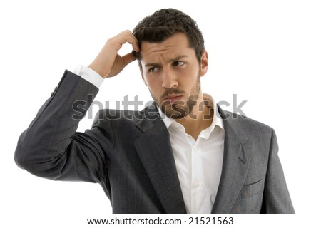 portrait of thinking businessman with white background