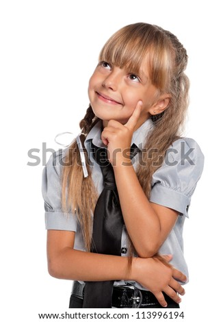 Portrait of thoughtful little girl isolated on white background