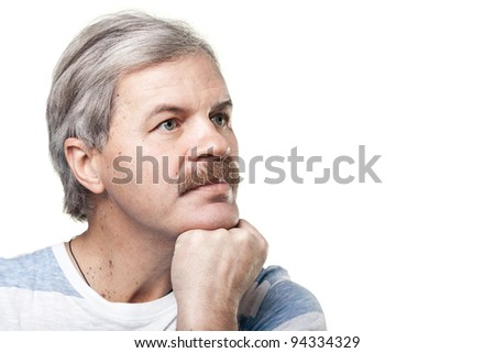 portrait of thoughtful mature caucasian man isolated on white background
