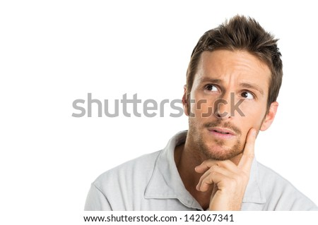 Portrait Of Thoughtful Young Man Isolated On White Background