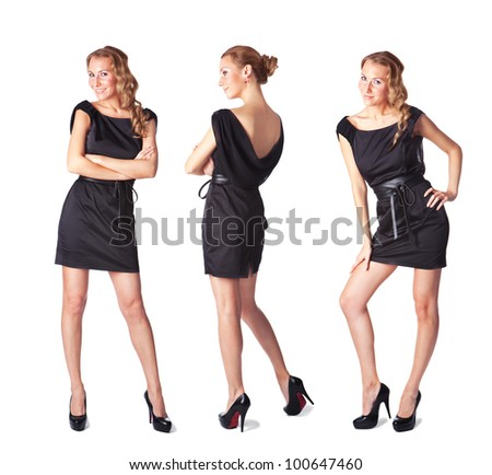 Portrait of three attractive young women in a black dress Full length looking at camera isolated on  white background