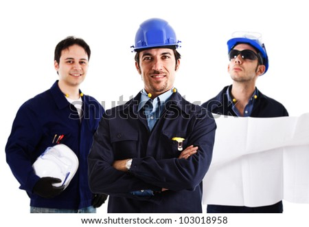 Portrait of three smiling engineers