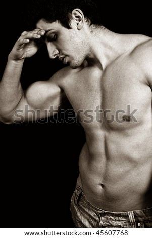 Portrait of tired sad weary male bodybuilder
