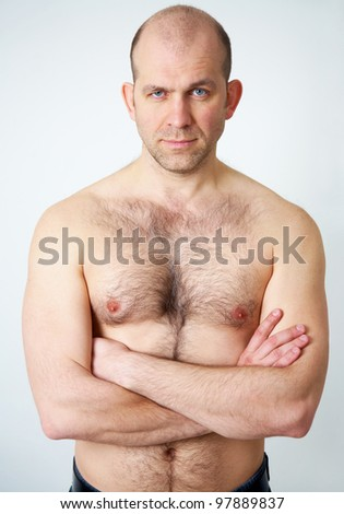 Portrait of topless handsome man on white background