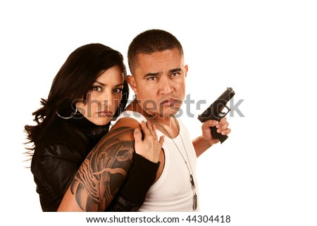 Portrait of Tough Hispanic Couple on White background