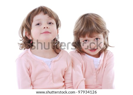 stock photo : portrait of twin girls