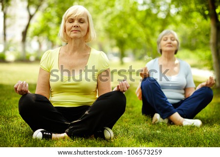 Portrait of two aged females doing yoga exercise on green grass