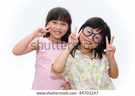 Portrait of two asian girls and best friends with happy