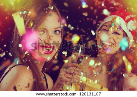 Portrait of two beautiful girls on the New Year's Eve