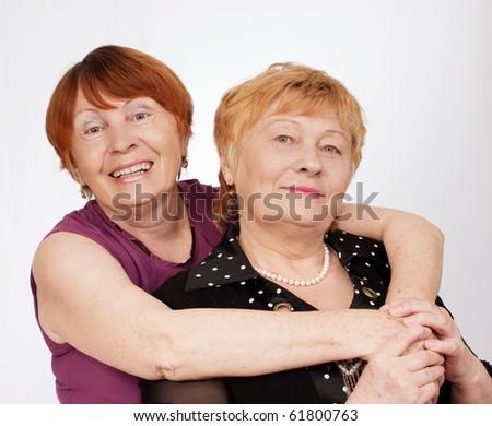 Portrait of two elderly sisters