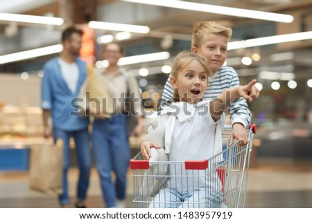 Portrait of two excited children riding shopping cart in supermarket, copy pace