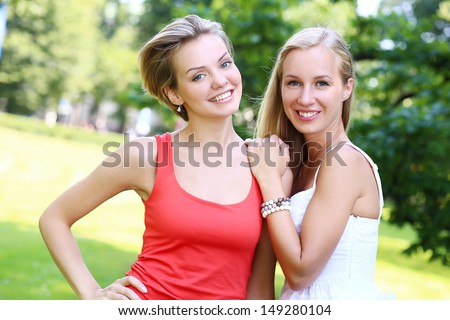 Two girls having fun with each other