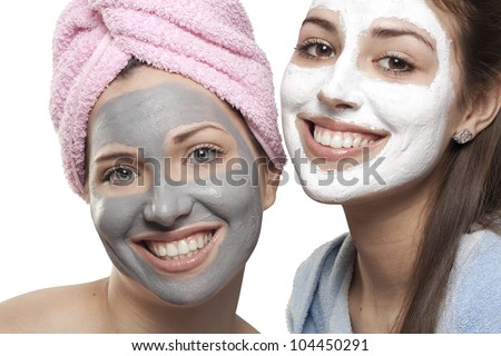 Portrait of two girls with medicated masks