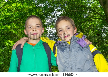 stock photo : Portrait of two hugging boys, twins