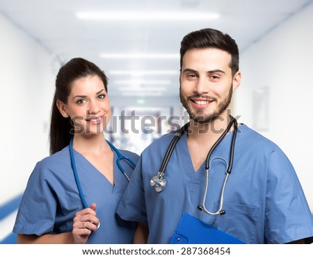 Portrait of two smiling medical workers