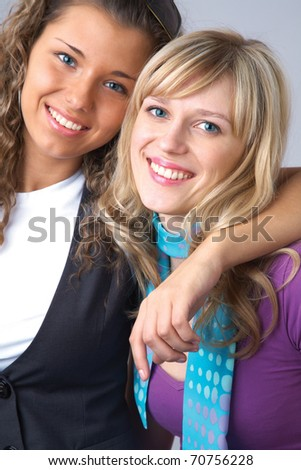 portrait of two young beautiful woman