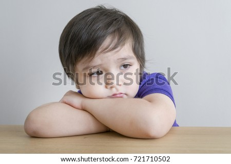 Portrait of upset little boy, Kid sad face, Unhappy child looking out, Emotion portrait of toddler, Spoiled children concept  #721710502