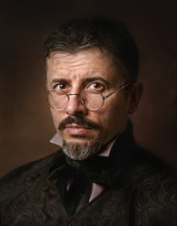 Portrait of Victorian man with goatee.
