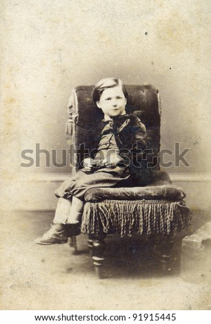 Portrait Of Victorian Young Boy On Chair. Sourced From Antique ...