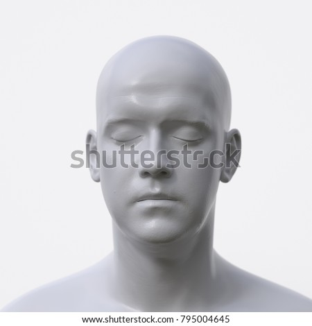 portrait of white artificial man, 3d illustration