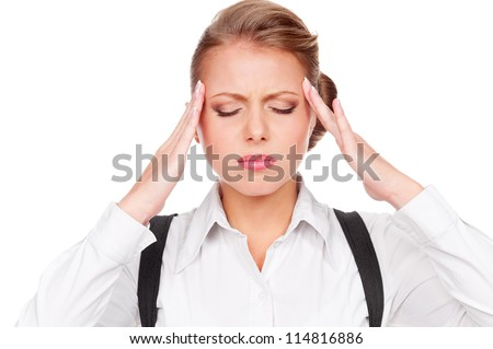 portrait of white-collar worker have a headache. isolated on white background