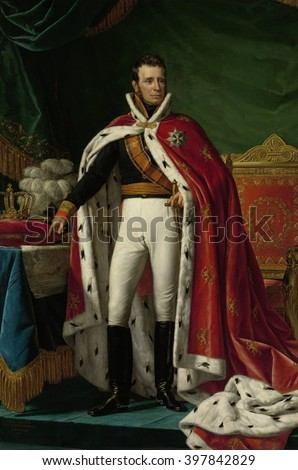 Portrait of William I, King of the Netherlands, by Joseph Paelinck, 1819 oil on canvas. After the Battle of Waterloo he was inaugurated in 1815 as King William I