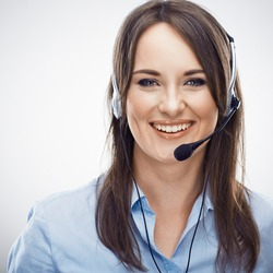 Portrait of woman customer service worker, call center smiling operator. Isolated portrait.