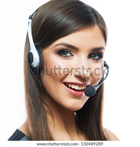 Portrait of woman customer service worker, call center smiling operator with phone headset isolated on white background