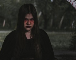 Portrait of woman devil ghost demon costume horror and scary, Happy Halloween day concept