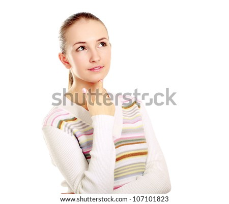 Portrait of woman dressed in a green blouse, Isolated on white background