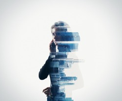 Portrait of woman holding her smart phone in a hands.  isolated, double exposure
